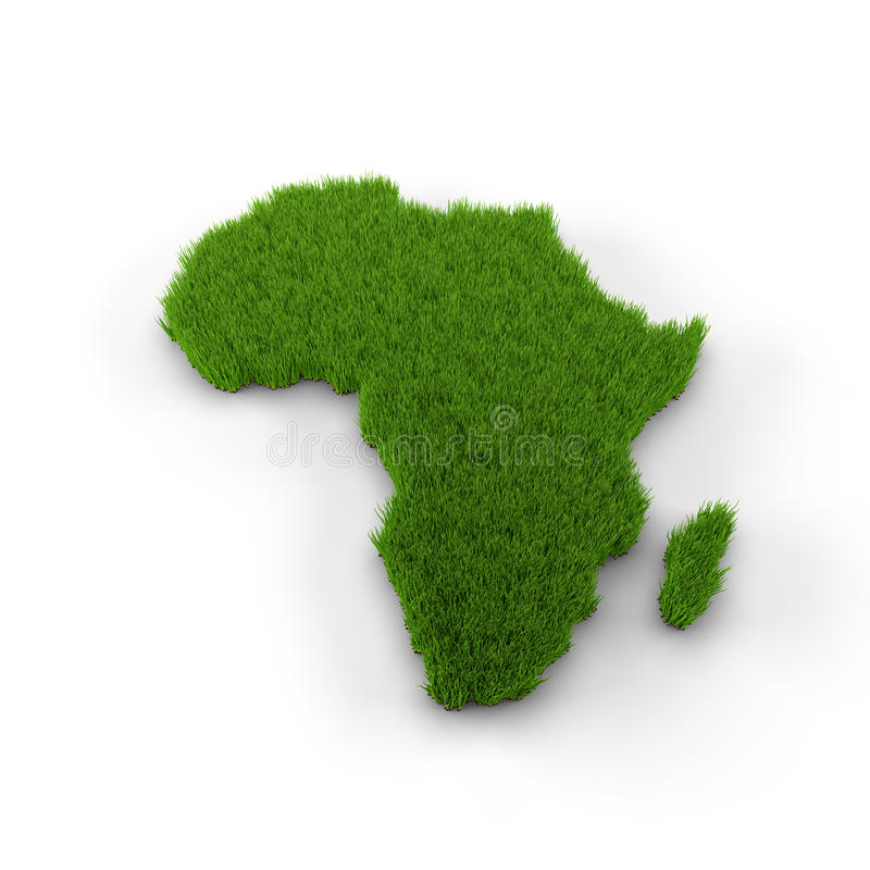 Mappa dell'Africa fatta di erba royalty illustrazione gratis