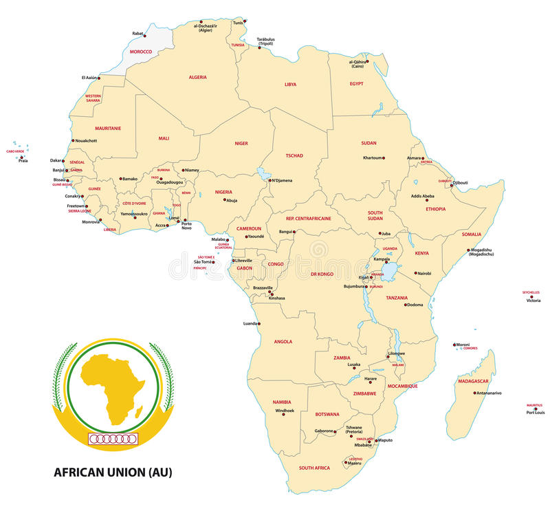 Mappa dell'Africa (unione africana)