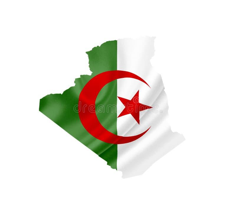Mappa dell'Algeria con la bandiera d'ondeggiamento isolata su bianco fotografia stock