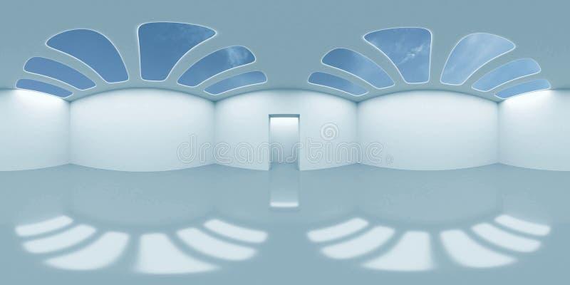 Mappa dell'ambiente di HDRI, fondo sferico astratto di panorama, interno e sorgente luminosa del cielo che rende la stanza vuota  fotografie stock