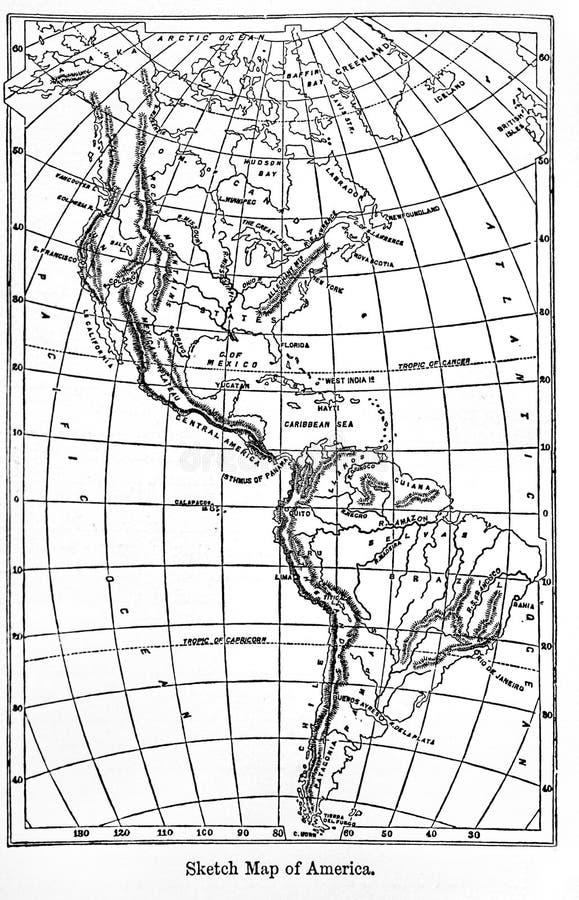 Mappa dell'America da un'enciclopedia d'annata Britannica del libro da A fotografia stock libera da diritti