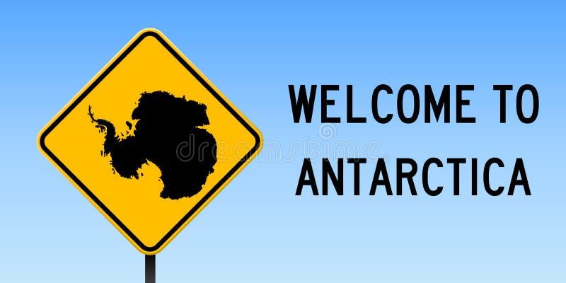 Mappa dell'Antartide sul segnale stradale illustrazione di stock