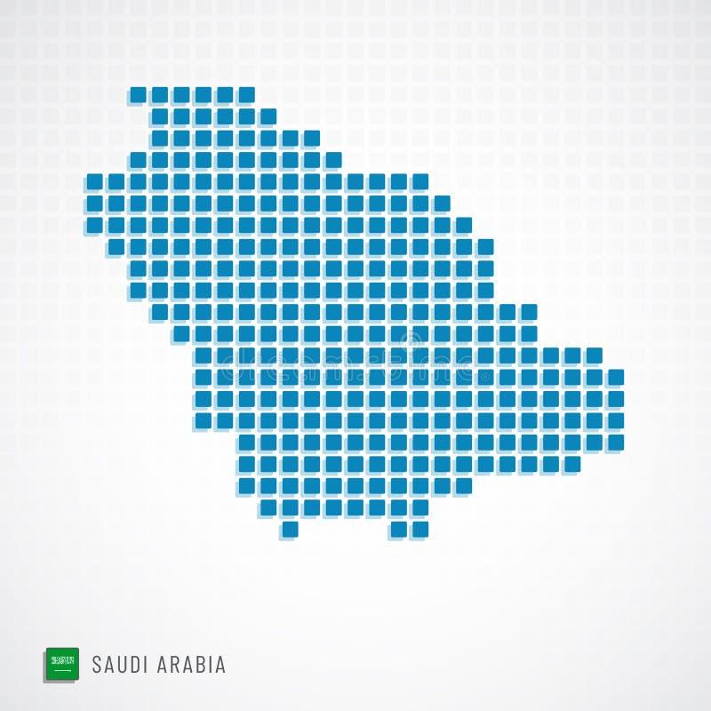 Mappa dell'Arabia Saudita ed icona della bandiera illustrazione vettoriale