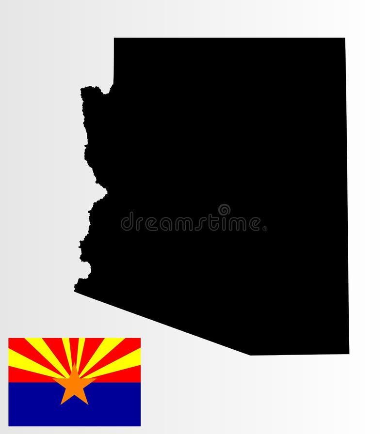 Mappa dell'Arizona e bandiera Arizona illustrazione di stock