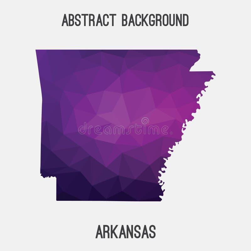 Mappa dell'Arkansas in poligonale geometrico, stile del mosaico illustrazione vettoriale
