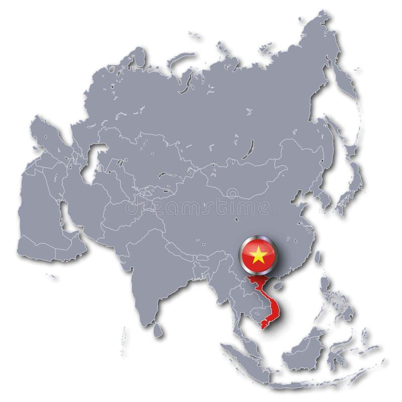 Mappa dell'Asia con il Vietnam illustrazione vettoriale