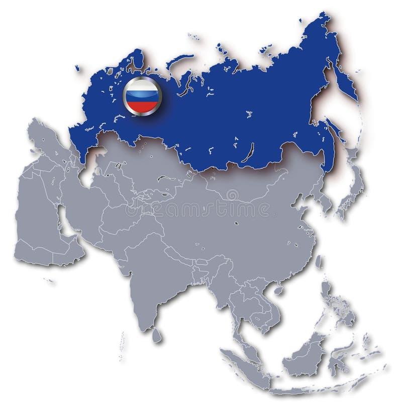Mappa dell'Asia con la Russia illustrazione vettoriale