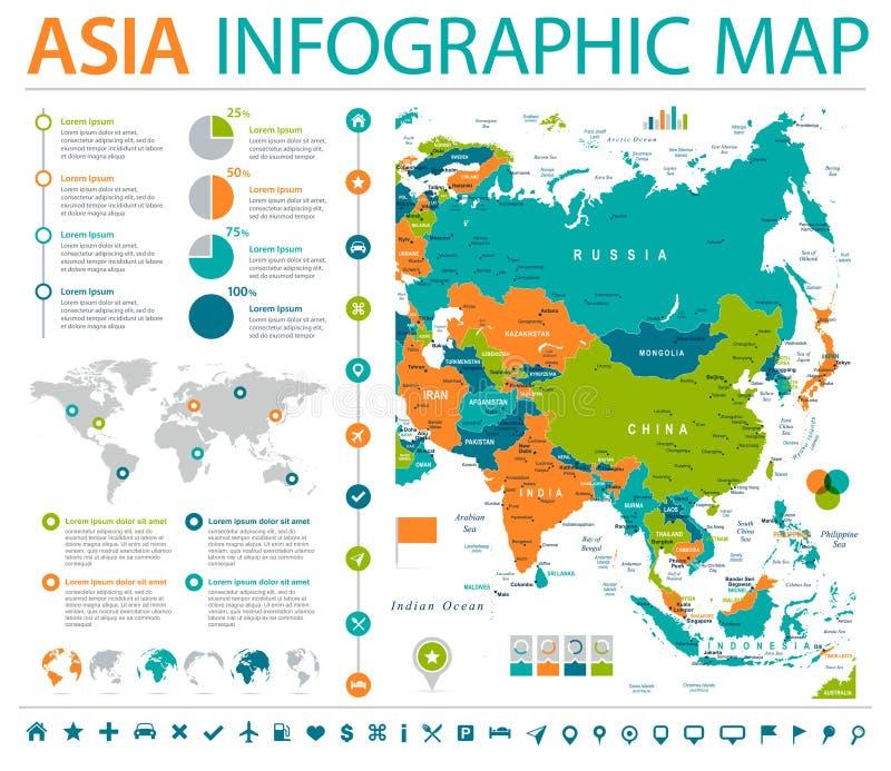 Mappa dell'Asia - illustrazione grafica di vettore di informazioni illustrazione vettoriale