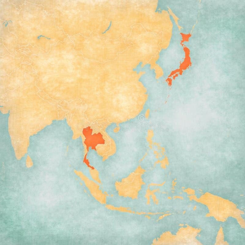 Mappa dell'Asia Orientale - la Tailandia ed il Giappone royalty illustrazione gratis