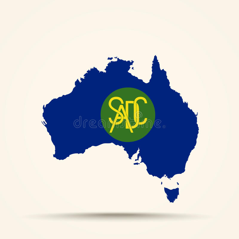 Mappa dell'Australia in bandiera della comunità di sviluppo dell'Africa australe illustrazione vettoriale