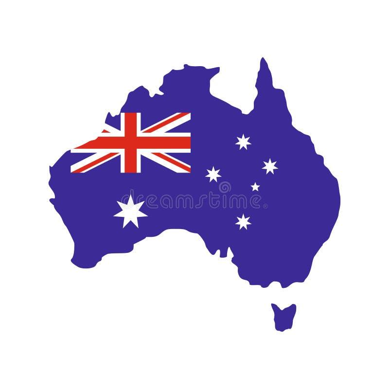 Mappa dell'Australia con l'immagine della bandiera nazionale royalty illustrazione gratis