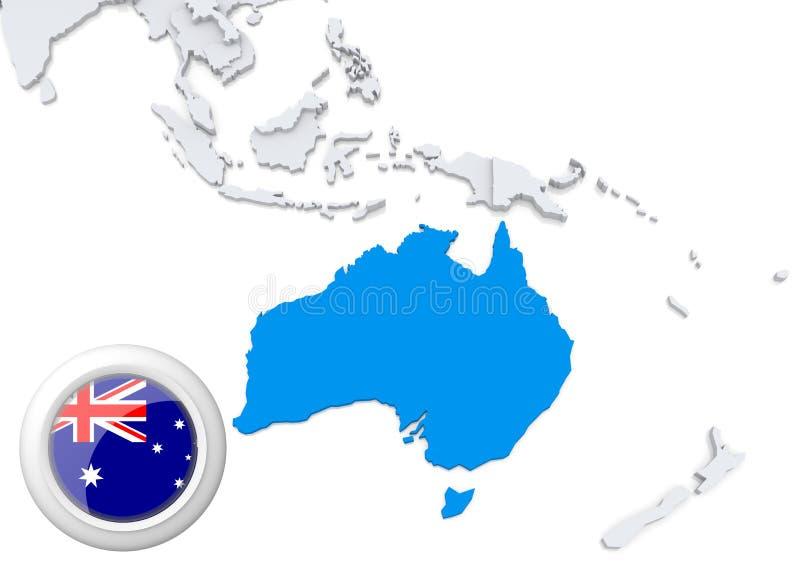 Mappa dell'Australia con la bandiera nazionale royalty illustrazione gratis