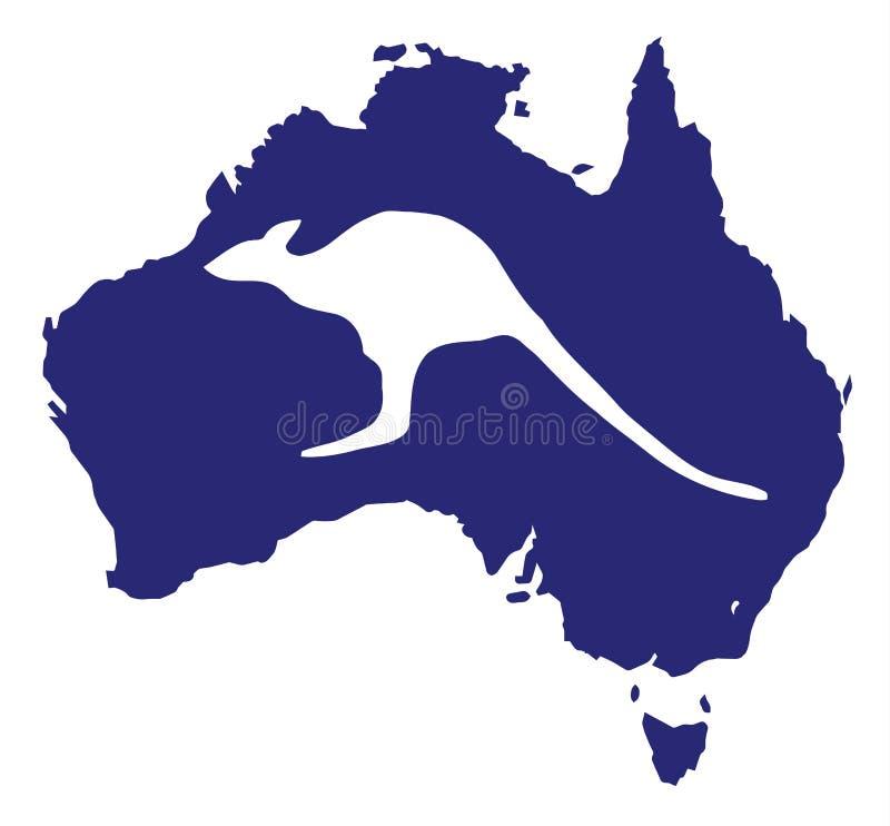 Mappa dell'Australia con la siluetta del canguro illustrazione vettoriale