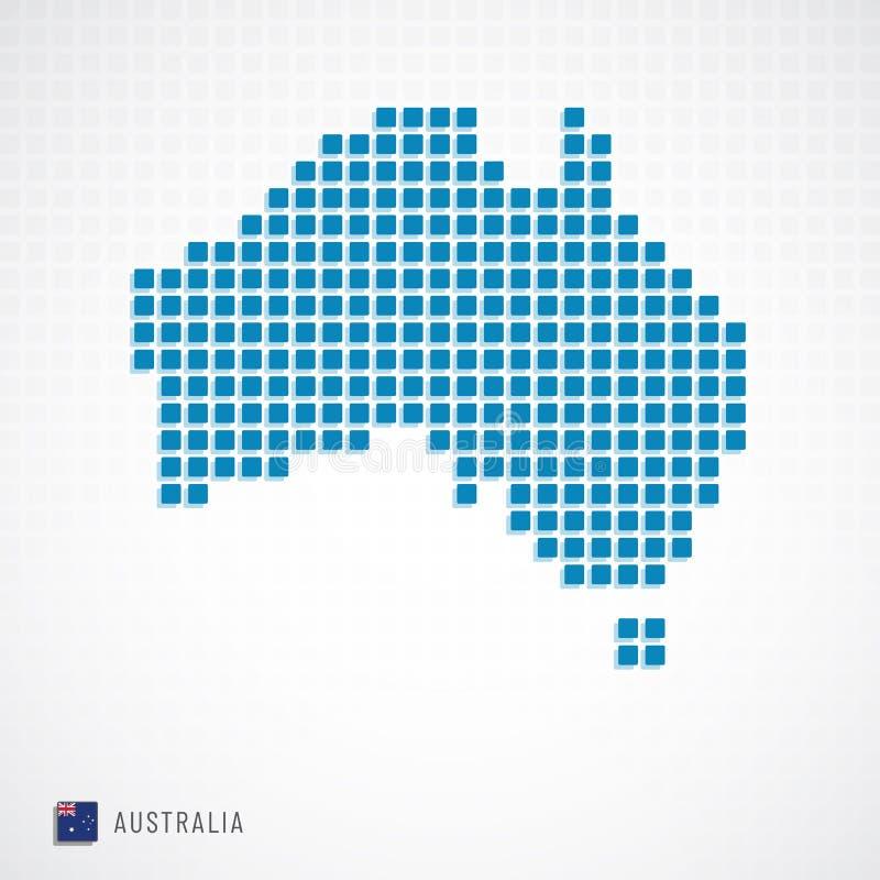Mappa dell'Australia ed icona della bandiera illustrazione vettoriale