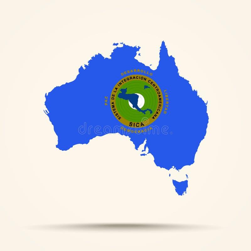 Mappa dell'Australia nel passo centro americano della bandiera del sistema di integrazione illustrazione di stock