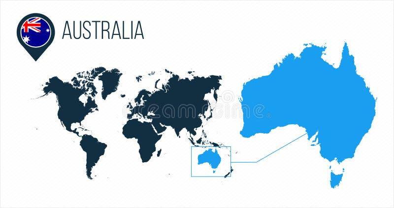 Mappa dell'Australia situata su una mappa di mondo con la bandiera e puntatore o perno della mappa Mappa di Infographic Illustraz illustrazione di stock