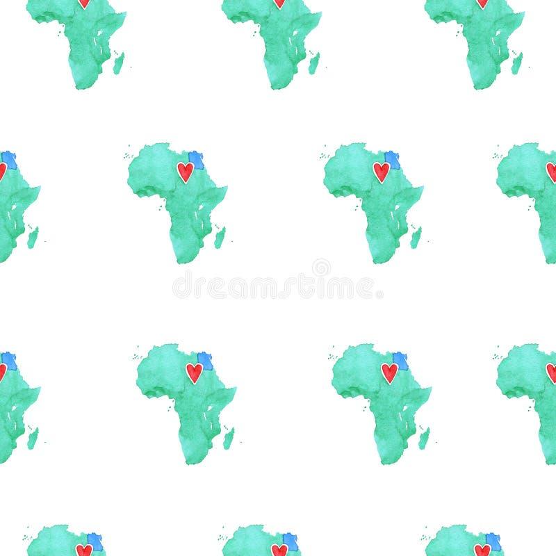 Mappa dell'Egitto in un modello senza cuciture dell'acquerello royalty illustrazione gratis