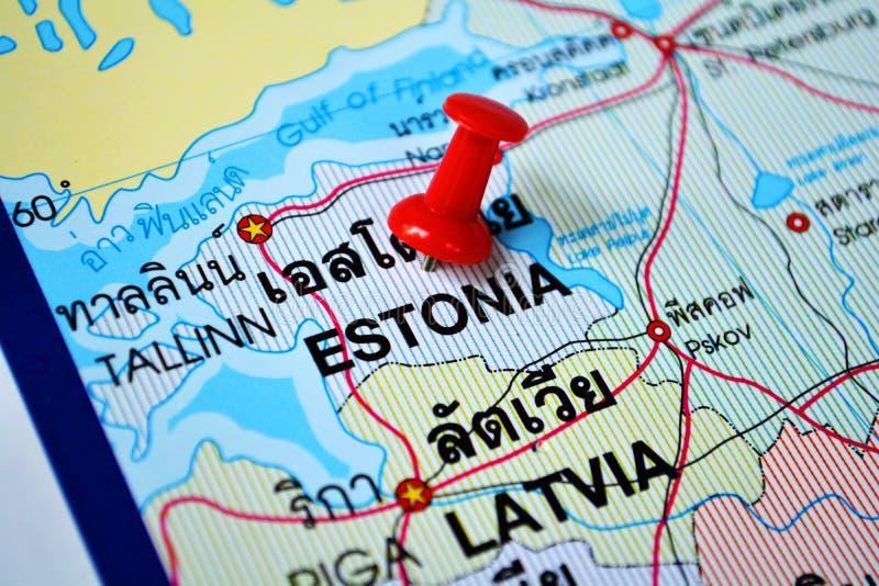 Mappa dell'Estonia fotografia stock libera da diritti