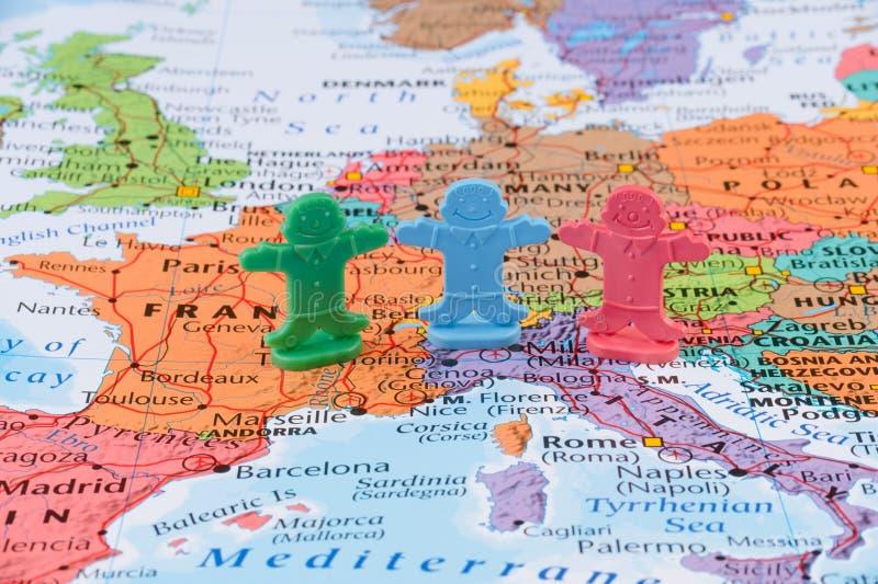 Mappa dell'Europa occidentale, concetto di stabilità dell'Unione Europea fotografia stock libera da diritti