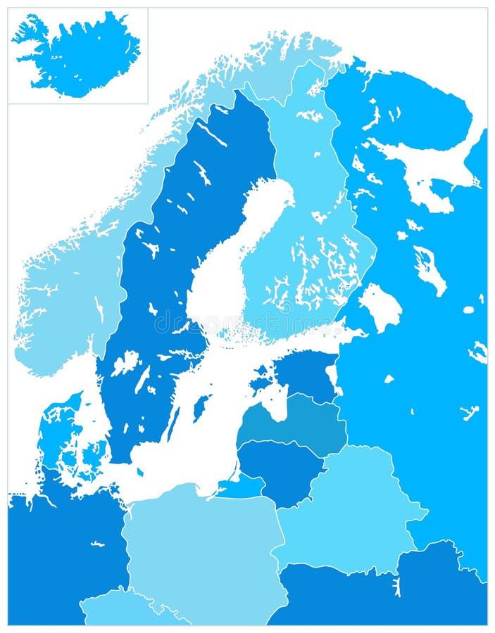 Mappa dell'Europa settentrionale in cinque tonalità del blu NESSUN testo royalty illustrazione gratis