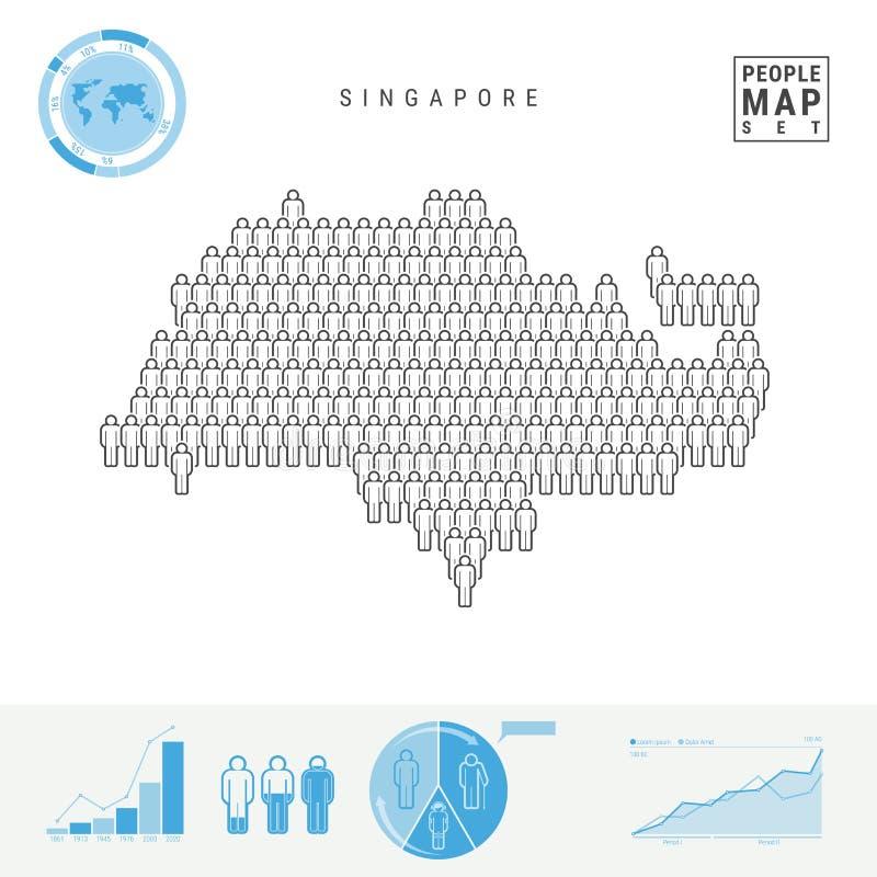 Mappa dell'icona della gente di Singapore Siluetta stilizzata di vettore di Singapore Crescita della popolazione e invecchiamento royalty illustrazione gratis