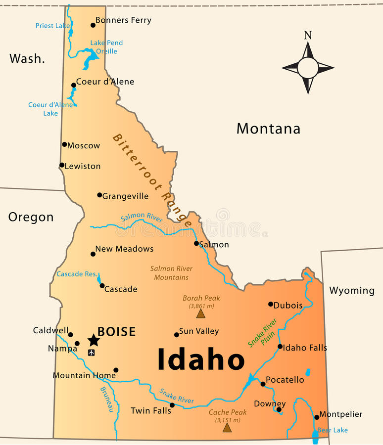 Mappa dell'Idaho illustrazione di stock