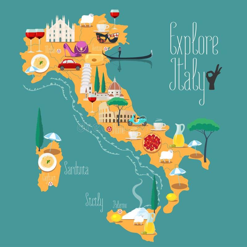 Mappa dell'illustrazione di vettore dell'Italia, progettazione Icone con i punti di riferimento italiani illustrazione di stock