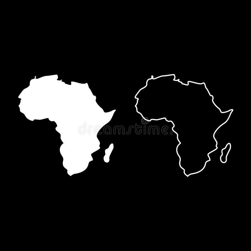 Mappa dell'immagine semplice di colore dell'icona dell'Africa di stile piano bianco stabilito dell'illustrazione royalty illustrazione gratis