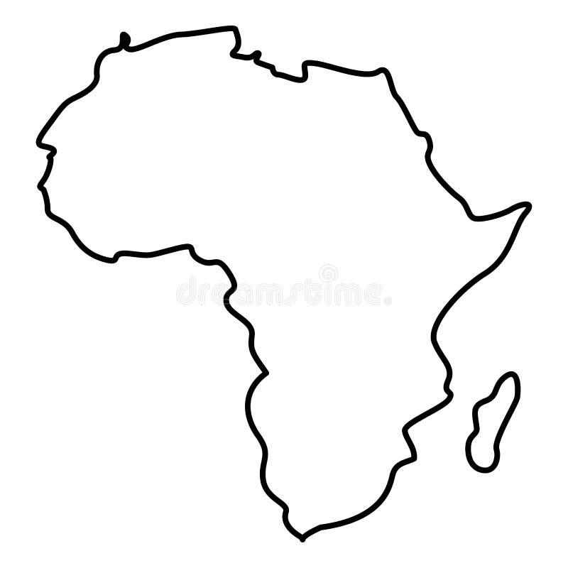 Mappa dell'immagine semplice di stile piano dell'illustrazione di colore del nero dell'icona dell'Africa royalty illustrazione gratis