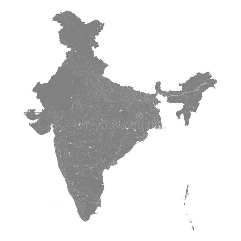 Mappa dell'India con i fiumi ed i laghi royalty illustrazione gratis