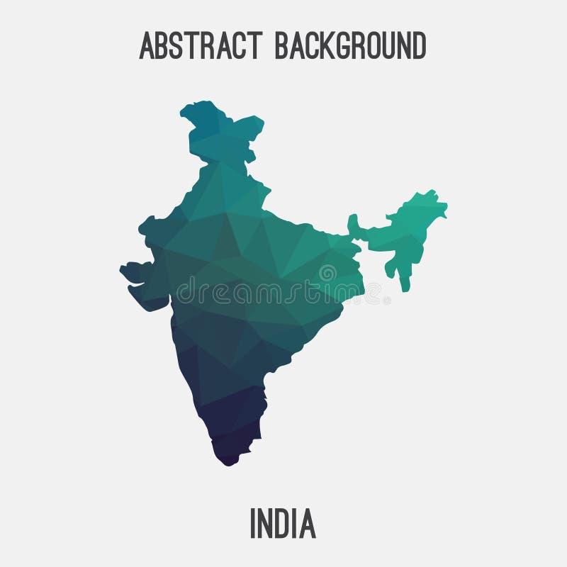 Mappa dell'India in poligonale geometrico, stile del mosaico royalty illustrazione gratis