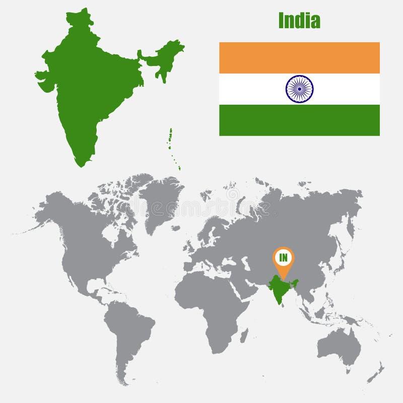 Mappa dell'India su una mappa di mondo con il puntatore della mappa e della bandiera Illustrazione di vettore illustrazione di stock