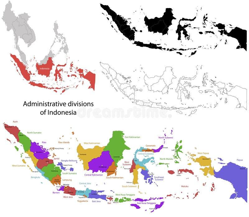 Mappa dell'Indonesia illustrazione vettoriale