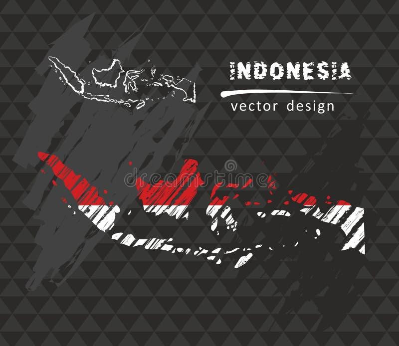 Mappa dell'Indonesia con la bandiera dentro sui precedenti neri Illustrazione di vettore di schizzo del gesso illustrazione vettoriale
