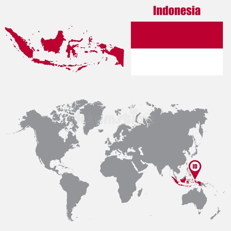 Mappa dell'Indonesia su una mappa di mondo con il puntatore della mappa e della bandiera Illustrazione di vettore royalty illustrazione gratis