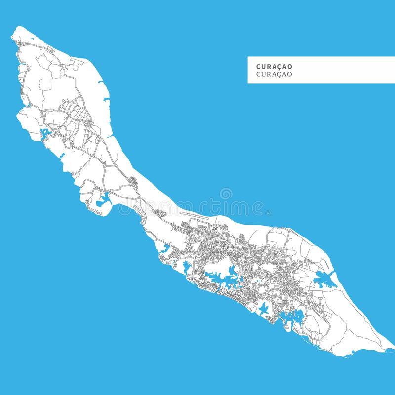 Mappa dell'isola del Curacao royalty illustrazione gratis