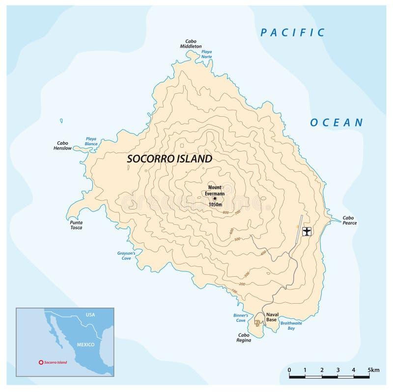 Mappa dell'isola del Pacifico messicana Socorro royalty illustrazione gratis