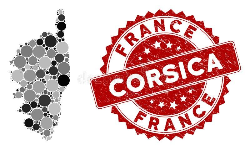 Mappa dell'isola di Mosaica Corsica France e sigillo rotondo di soccorso royalty illustrazione gratis