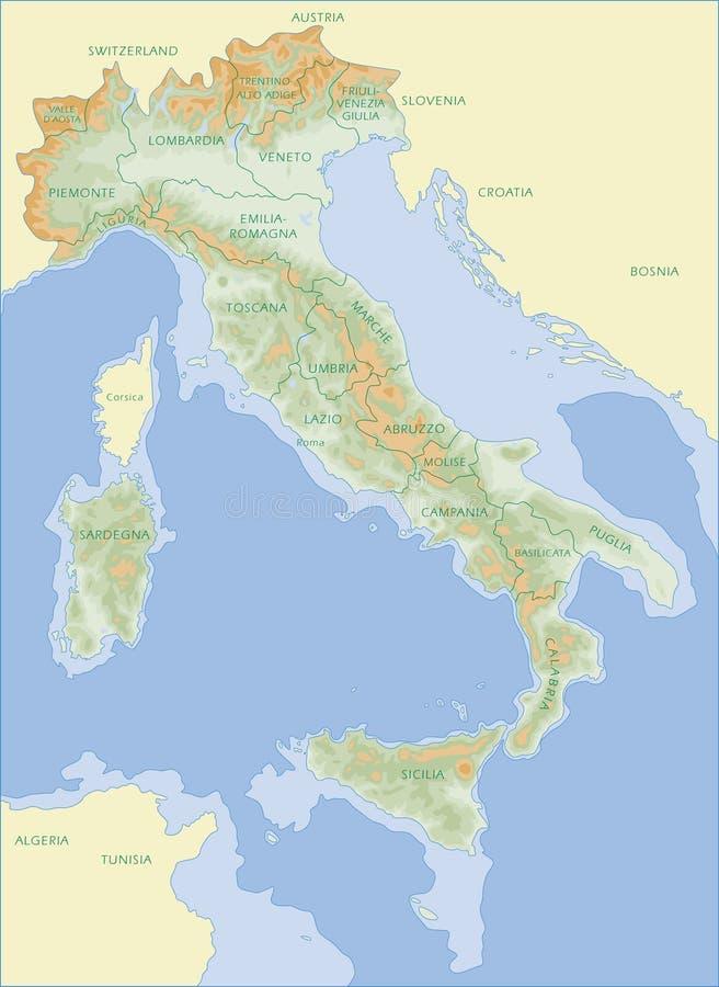 Mappa dell'Italia - italiano illustrazione vettoriale