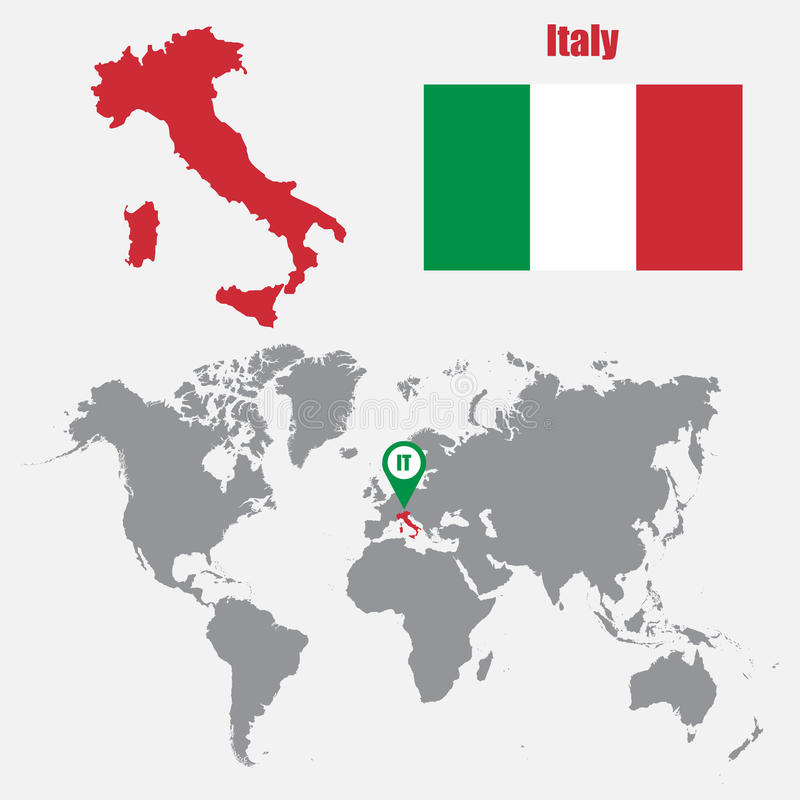 Mappa dell'Italia su una mappa di mondo con il puntatore della mappa e della bandiera Illustrazione di vettore illustrazione vettoriale