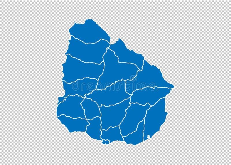 Mappa dell'Uruguay - mappa blu dettagliata di livello con le contee/regioni/stati di Uruguai mappa dell'Uruguai isolata su fondo  illustrazione vettoriale