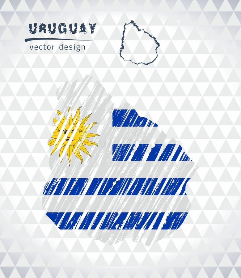 Mappa dell'Uruguay con la mappa disegnata a mano della penna di schizzo dentro Illustrazione di vettore royalty illustrazione gratis
