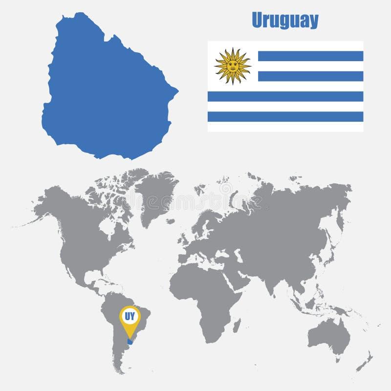 Mappa dell'Uruguay su una mappa di mondo con il puntatore della mappa e della bandiera Illustrazione di vettore illustrazione di stock
