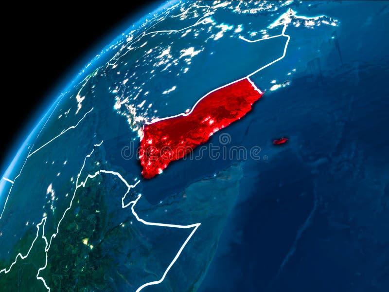 Mappa dell'Yemen alla notte fotografia stock