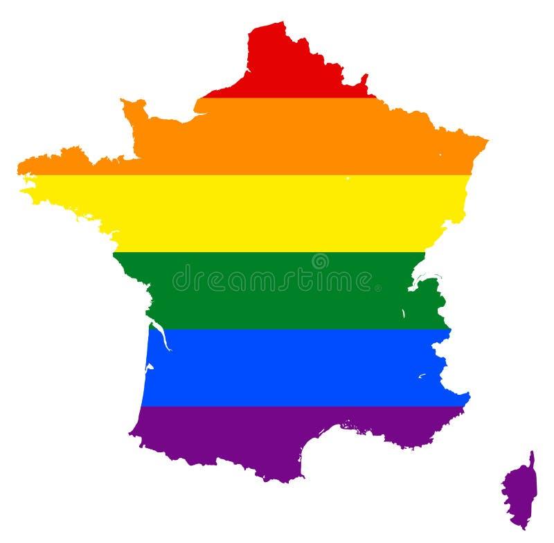 Mappa della bandiera di LGBT Mappa dell'arcobaleno di vettore a colori della bandiera gay, bisessuale e del transessuale della le illustrazione di stock