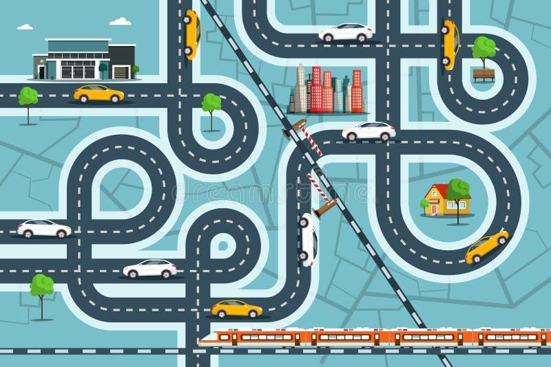 Mappa della città con le automobili sulle strade Vita della città di vista superiore con la ferrovia, le vie e le costruzioni illustrazione vettoriale