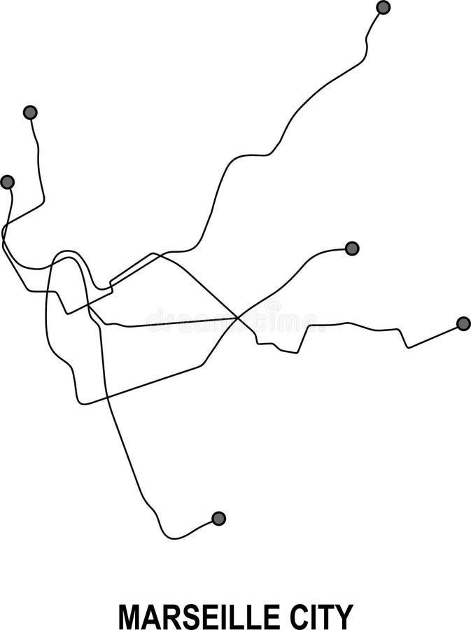 Mappa della città del sottopassaggio di Marsiglia illustrazione vettoriale
