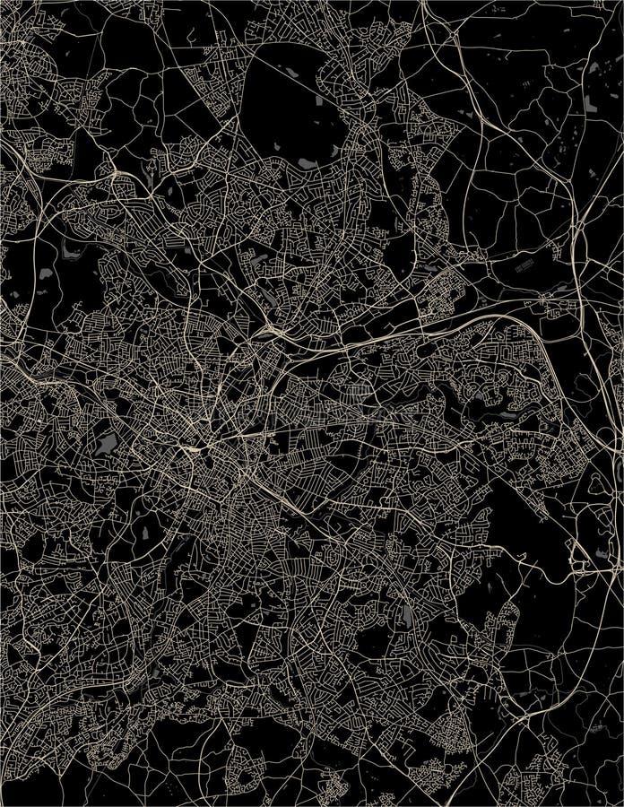 Mappa della città di Birmingham, Wolverhampton, parti centrali inglesi, Regno Unito, Inghilterra illustrazione di stock