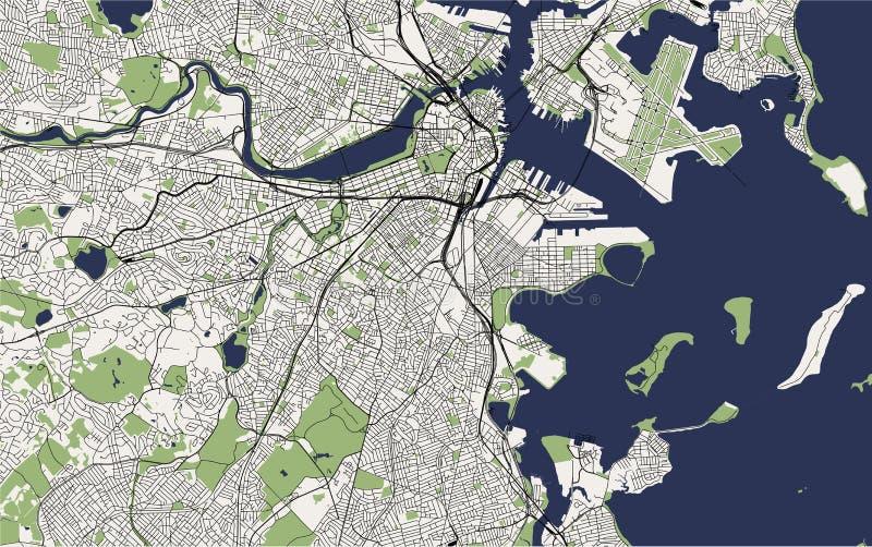 Mappa della città di Boston, U.S.A. illustrazione vettoriale