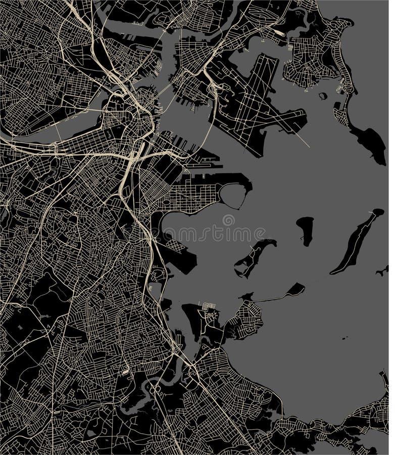 Mappa della città di Boston, U.S.A. royalty illustrazione gratis